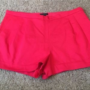 J CREW Red Pleated Shorts